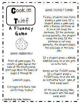 photograph about Printable Reading Fluency Games identified as Cookie Thief.pdf A Fluency Recreation. FREEBIE Instruction Designs