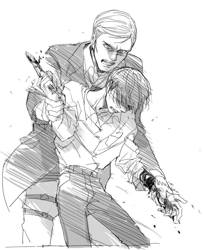 "( open gay attack on Titan Rp, Erwin x Levi). "" Erwin! Let go please!"" I cried out blood dripping from my arm "" please"" I sink to the floor. I've never shown weakness to anyone really"