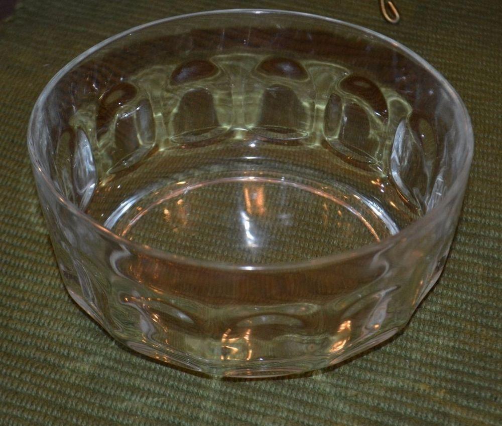 Vintage Arcoroc France Glass Bowl, Thumbprint Pattern, 6 5/8