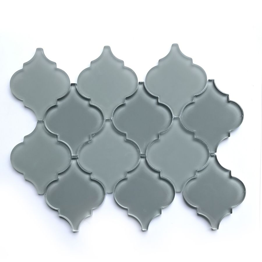 - Bestview Grey Lantern Mosaic Glass Wall Tile (Common: 9-in X 12-in