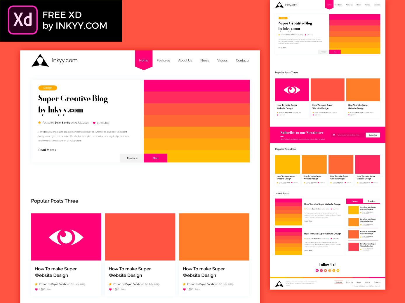 Creative Free Adobe Xd Blog Template Corporate Web Design Blog Website Template Portfolio Web Design