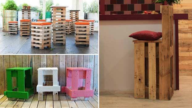 Sgabelli economici e moderni con bancali in legno for Oggetti d arredo particolari