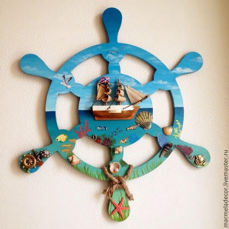 """Купить Панно Штурвал """"Море"""" - разноцветный, море, морская волна, морская тема, морской стиль"""