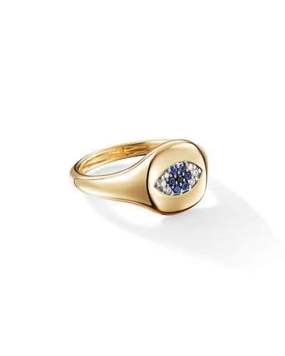 David Yurman 18k Gold Diamond Evil Eye Pinky Ring Size 2 5 Womens Jewelry Rings Diamond Rings