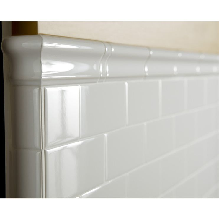 Quatrefoil Chair Rail Part - 26: American Olean 6-in X 2-in Starting Line White Gloss Ceramic Chair Rail Tile