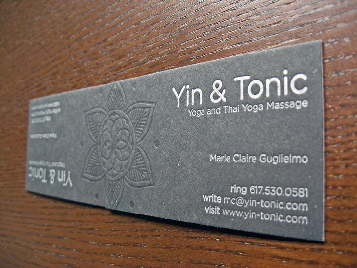 Excellent letterpress massage business cards samples created for excellent yin tonic letterpress business cards templates designed and printed by dolce press massage business accmission Choice Image