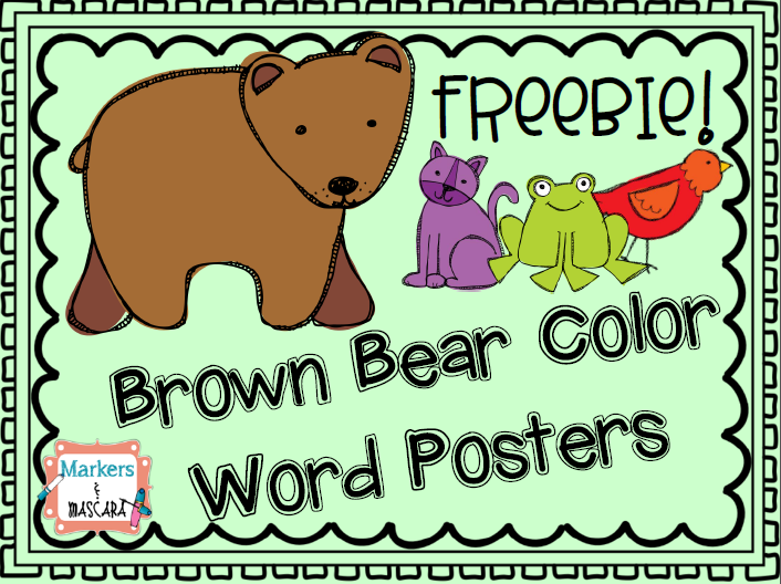 brown bear color word posters freebie teachers pin teachers