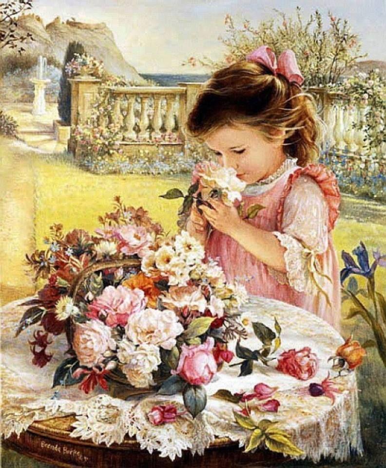 Девочка с букетом цветов открытка, гифки