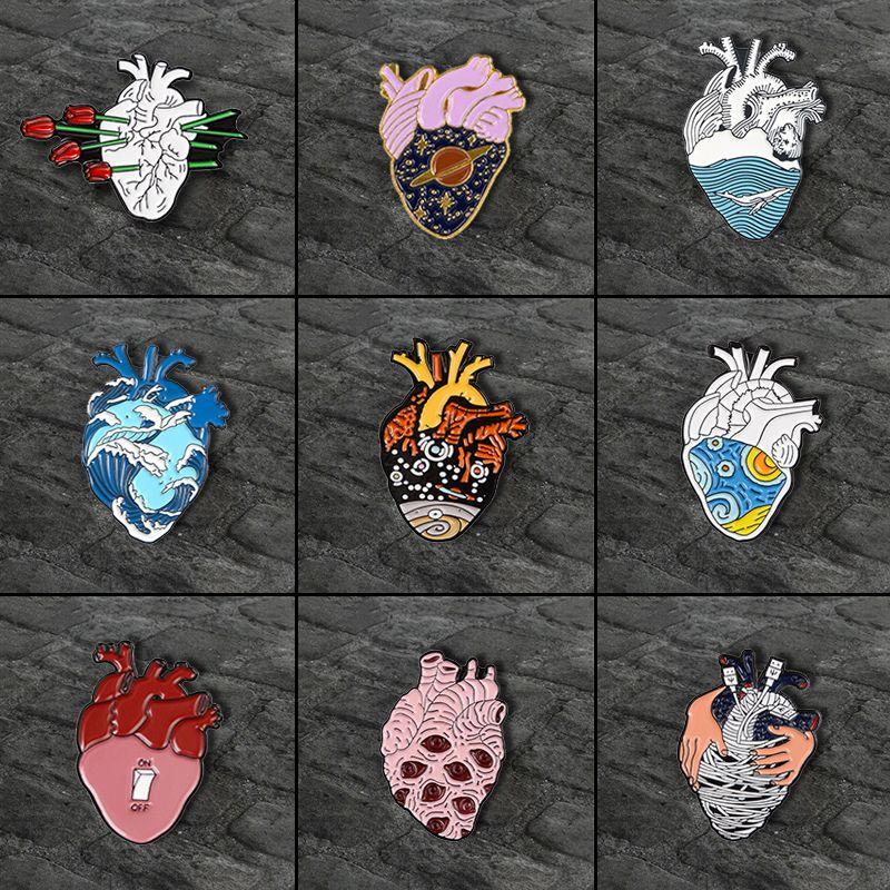 Anatomy Marine Style Clothing Accessories Enamel Badge Lapel Pin Heart Brooch