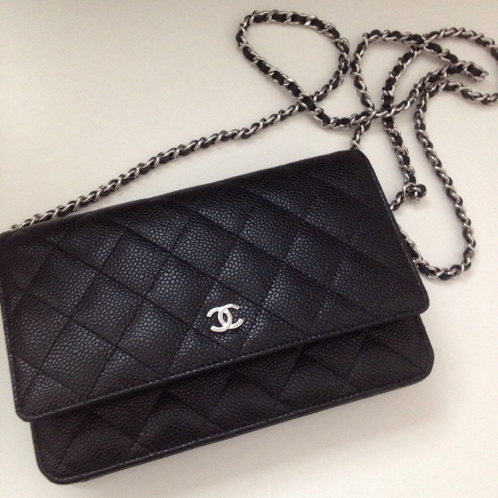 5ed8cf68a655fa Chanel wallet on chain in classic quilt black caviar with silver hardware