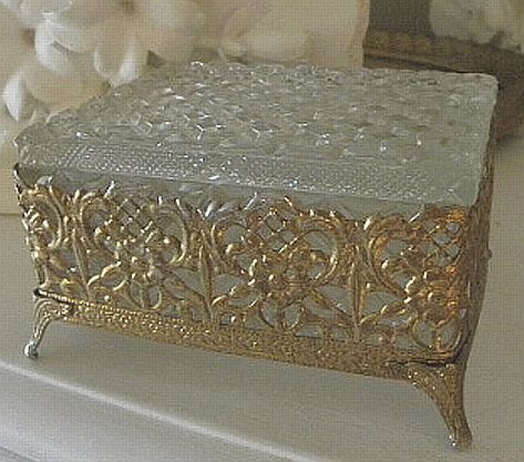 bee vintage jewelry boxes | antique old glass jewelry box