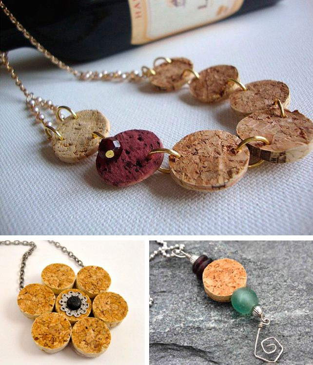 Collane e pendenti creati con i tappi di sughero - DIY necklace made with cork • #DIY #necklace #cork #recycle