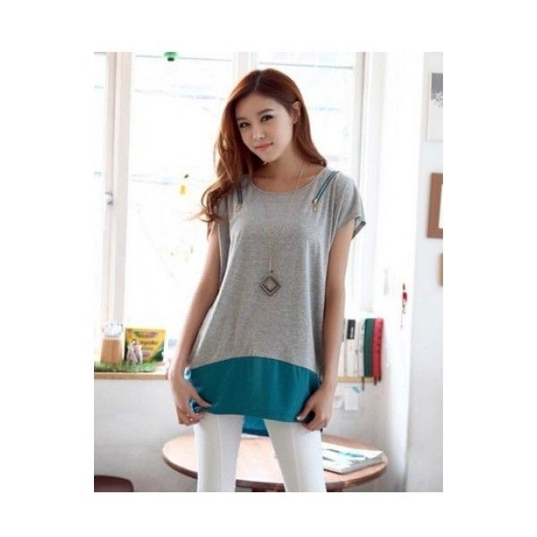 Grey Cotton Korean Style Women Round Neck Short Sleeve Zipper Loose... ($7.15) via Polyvore