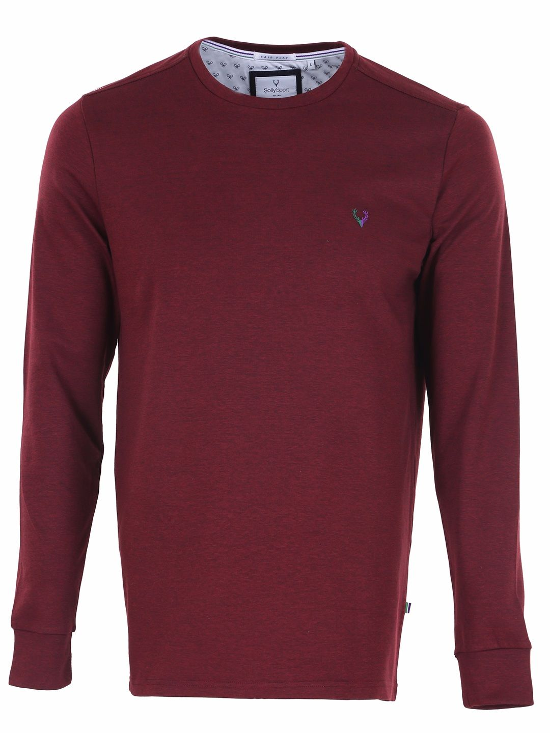 a39bdd3f Allen Solly Maroon Cotton Full Sleeves Plain Slim Fit Mens T Shirt ...