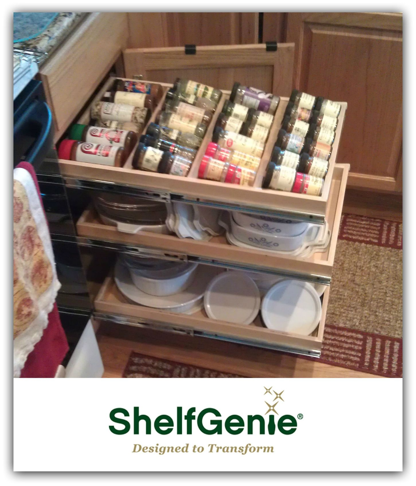 ShelfGenie custom roll out shelves for your Atlanta kitchen