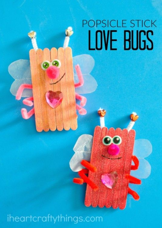 popsicle stick love bugs valentine 39 s day craft printemps. Black Bedroom Furniture Sets. Home Design Ideas