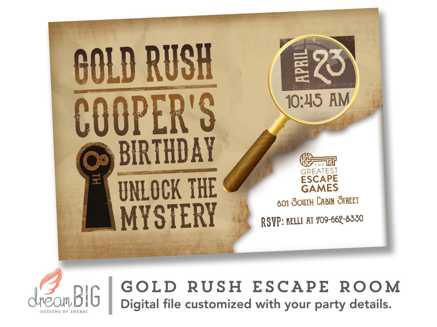 Escape Room Invite   Boys or Girls Birthday Invitation   Gold Rush    Printable Digital File. Escape Room Invite   Boys or Girls Birthday Invitation   Gold Rush