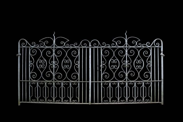 Late 19th C Wrought Iron Driveway Gates And Side Gate Uk