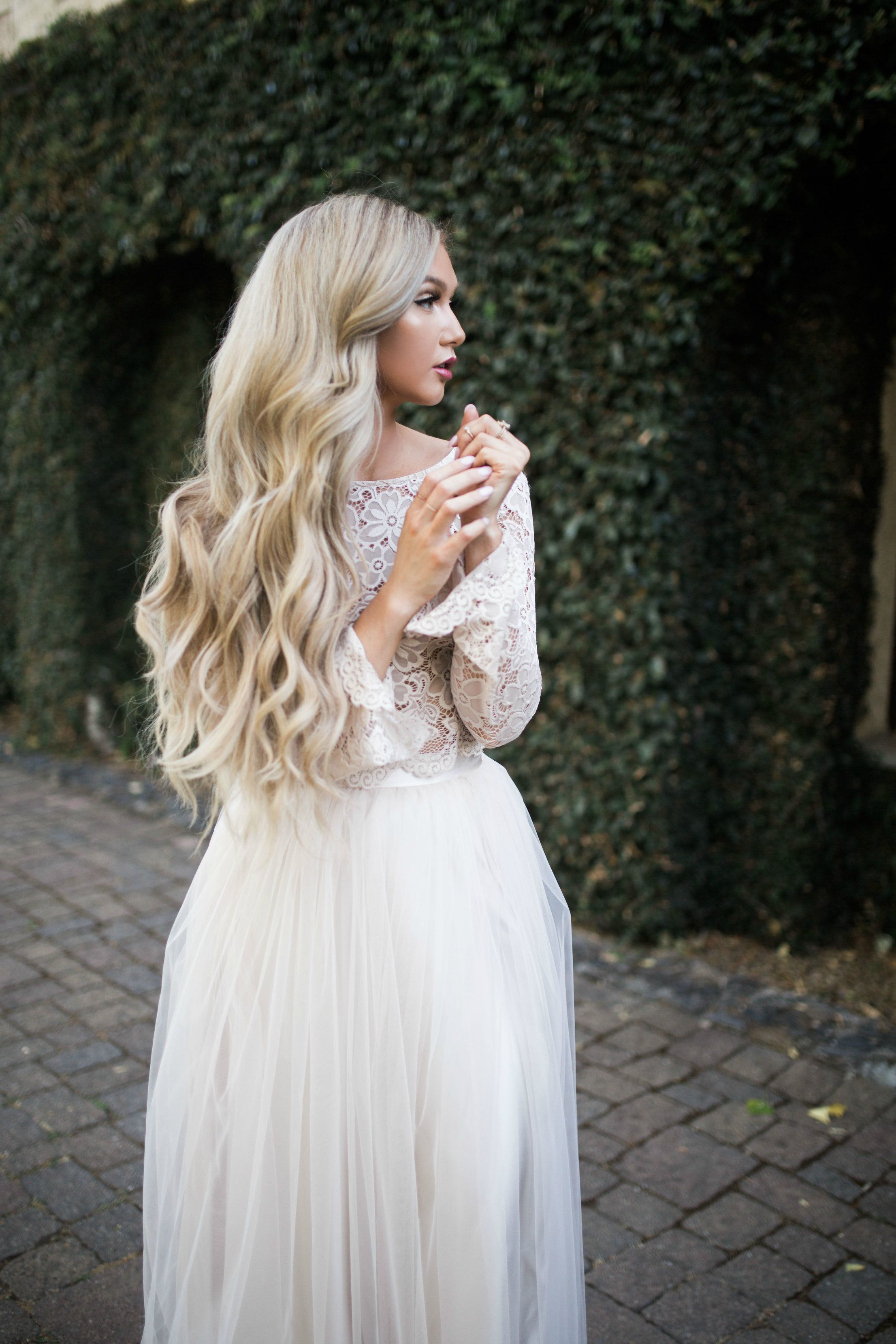 Willow maxi tulle skirt and camilla lace top in pale nude by bliss