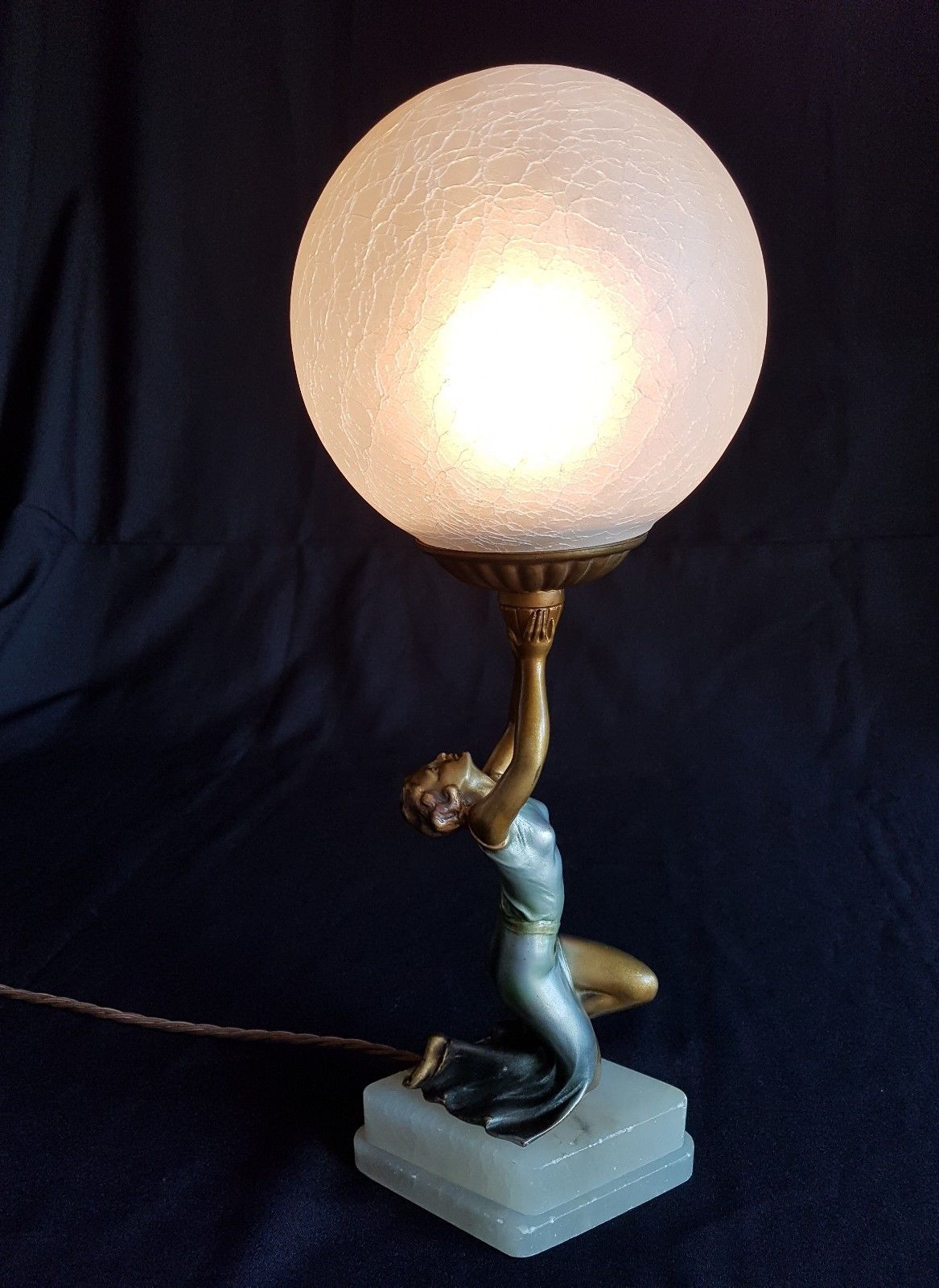 Art Deco lady figure lamp Lorenzl Art deco lamps, Art