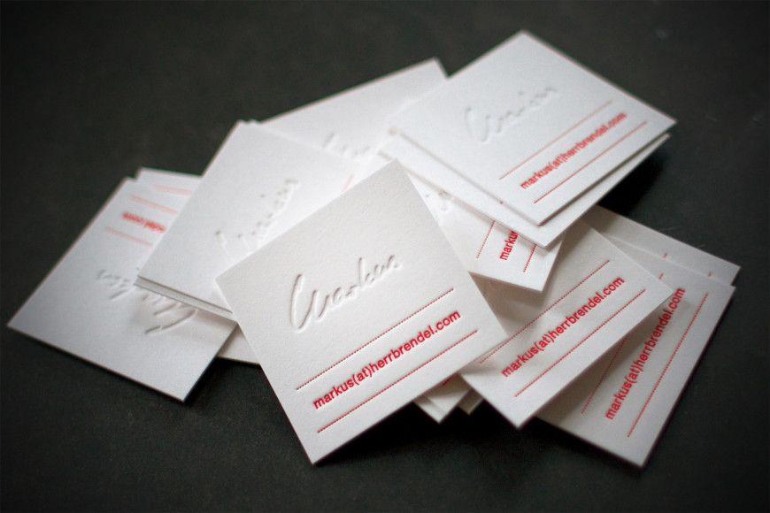 Kreative Letterpress Visitenkarten Auf Baumwoll Papier