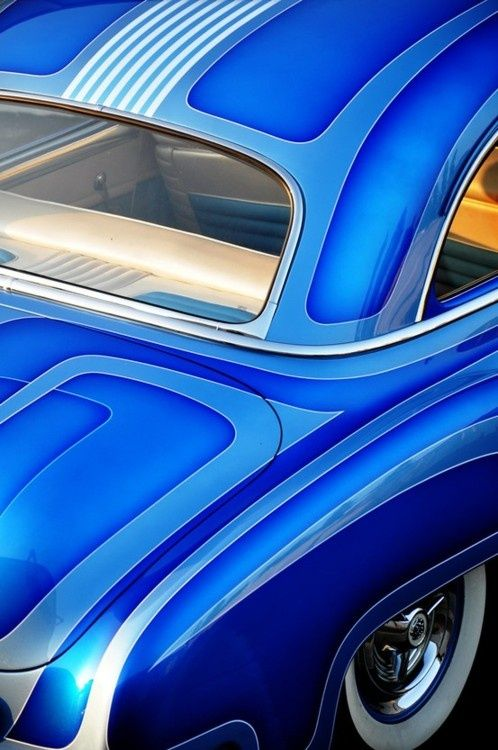 Classic Blue Car Artistic Design Custom Paint Blue Car Custom