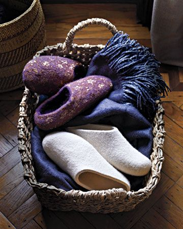 Keep a basket of slippers by the door for instant relaxation at the end of  the day 8df761382