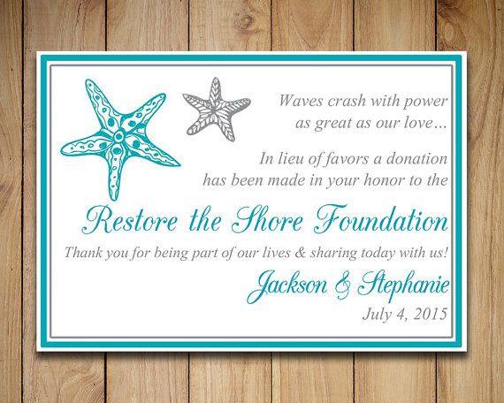 Wedding Favor Donation Card Template - Beach Wedding Charity Favor ...