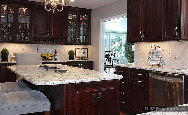 Brown And White Rectangle Gl Tiles Travertine Backsplash Tile Cream Countertop Dark Cabinet