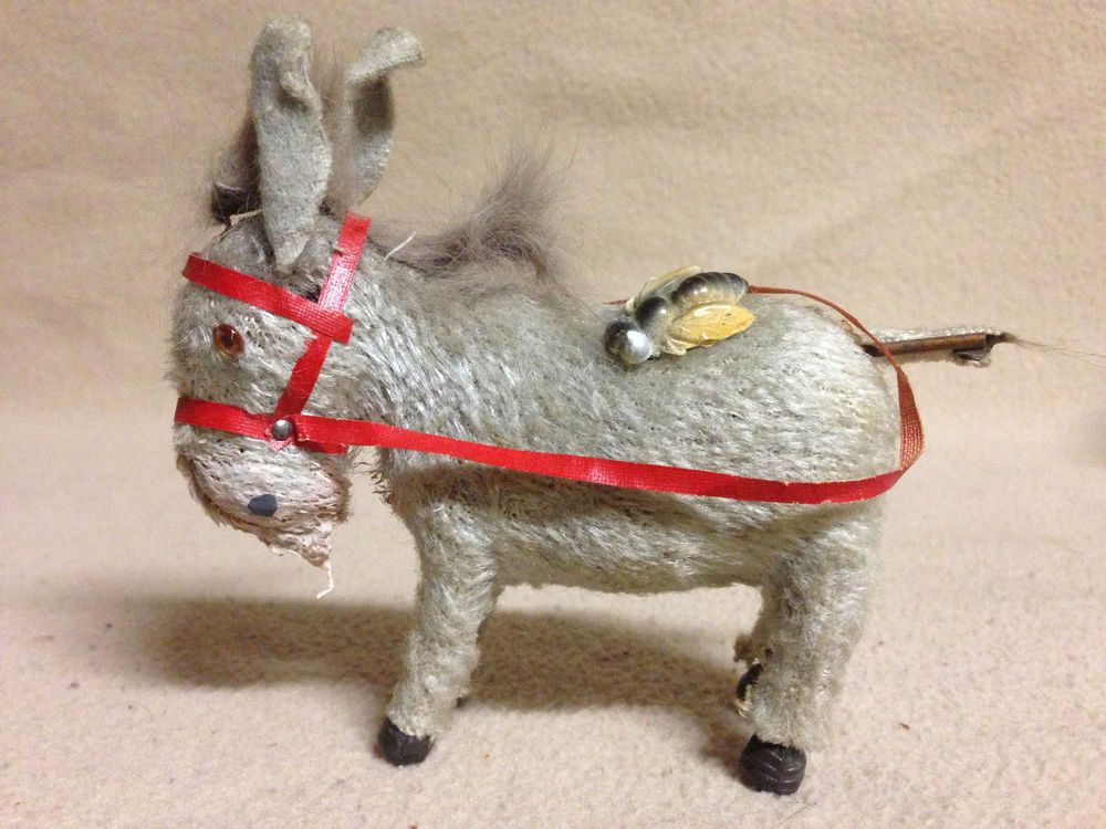 Vintage Windup Donkey Or Mule With Glass Eyes No Key Toy Not Working 1930s #Unknown