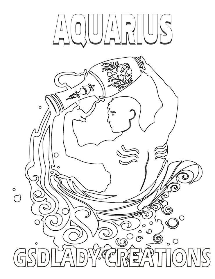 Astrology Art Coloring Page Aquarius Zodiac Art Print