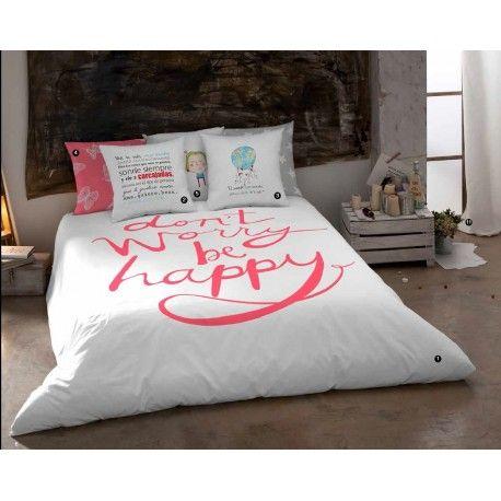 Fascinante funda n rdica happy con un texto en ingles que - Ropa de cama en ingles ...