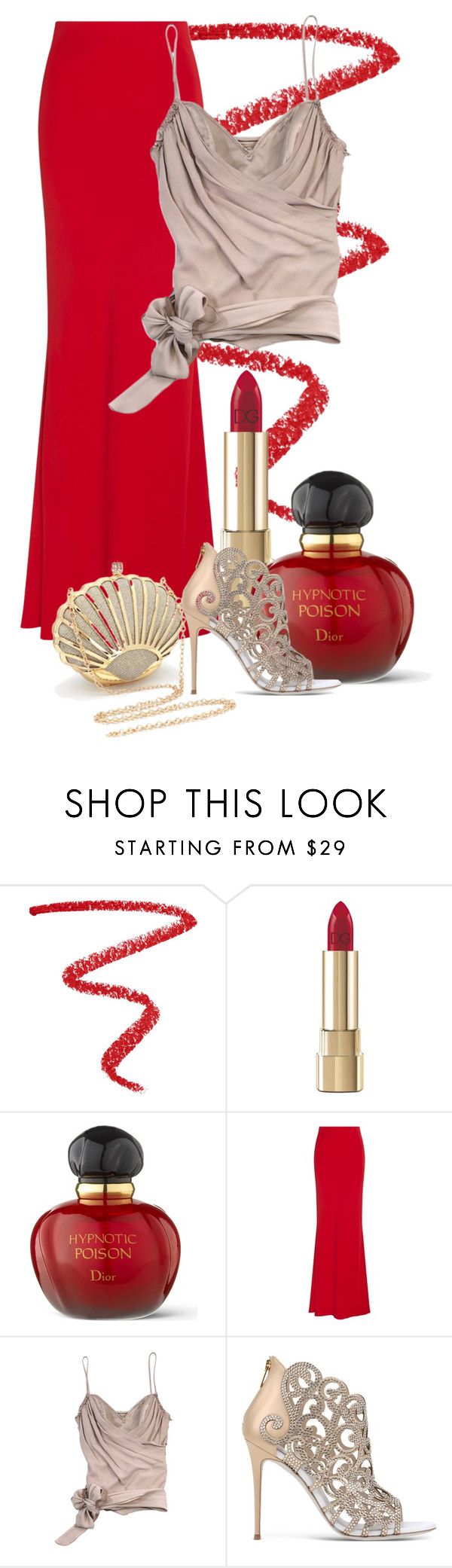"""""""Love the Red Maxi Skirt"""" by vivien-degraaf on Polyvore featuring NARS Cosmetics, Dolce&Gabbana, Christian Dior, Alexander McQueen, John Galliano and René Caovilla"""