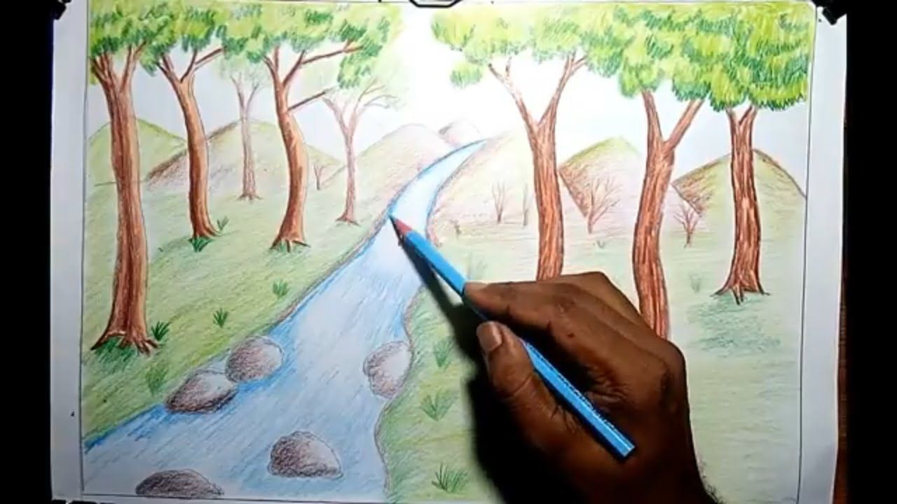 How to Draw Scenery of Waterfall Step by Step with Pencil ...