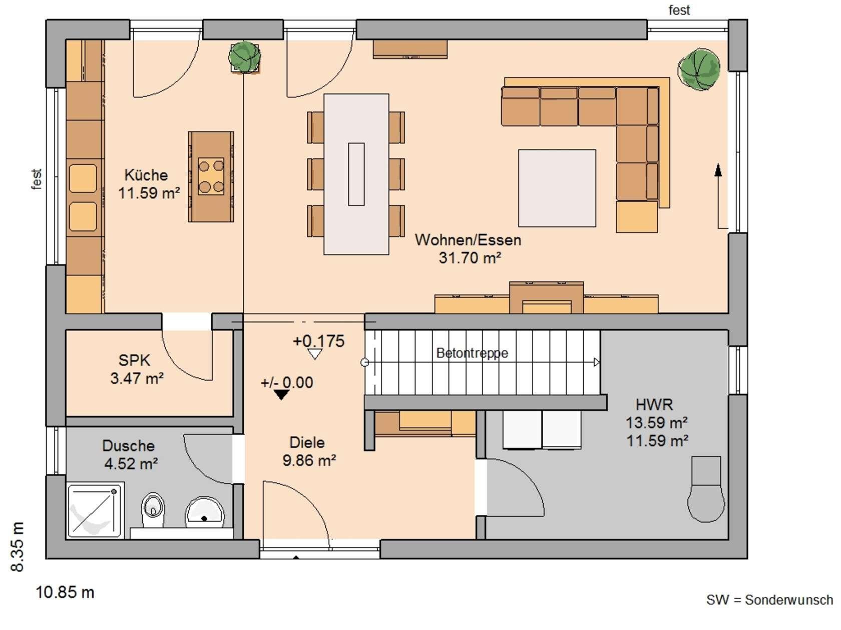 H user pinterest kern haus erdgeschoss und grundrisse for Grundriss einfamilienhaus erdgeschoss