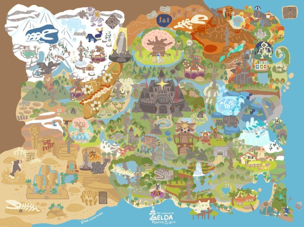 Legend Of Zelda Breath Of The Wild Inspired Map Art Hyrule Regions Botw Tw Azarashi Amazing Maps Zelda Map Fantasy Map