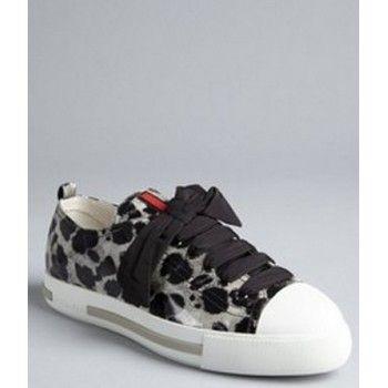 ¥219  Prada Sport Pewter Cheetah Leather Metallic Cap Toe Sneakers