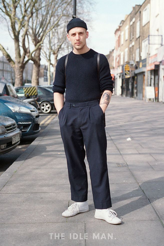 Black with a Touch of White | Perfect the minimalist look with an all black assemble and white socks and trainers. | Shop men's clothing at The Idle Man