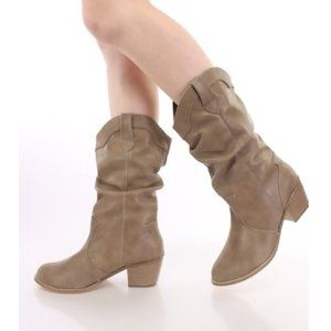 Women's Cowboy Mid Calf Slouchy Cowgirl Western Boots 8 Available Colors