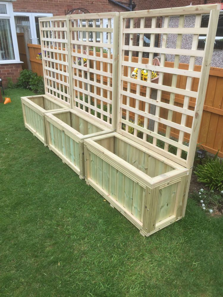 Details about wooden planters and trellis,hot tub screen delivery included depends on postcode