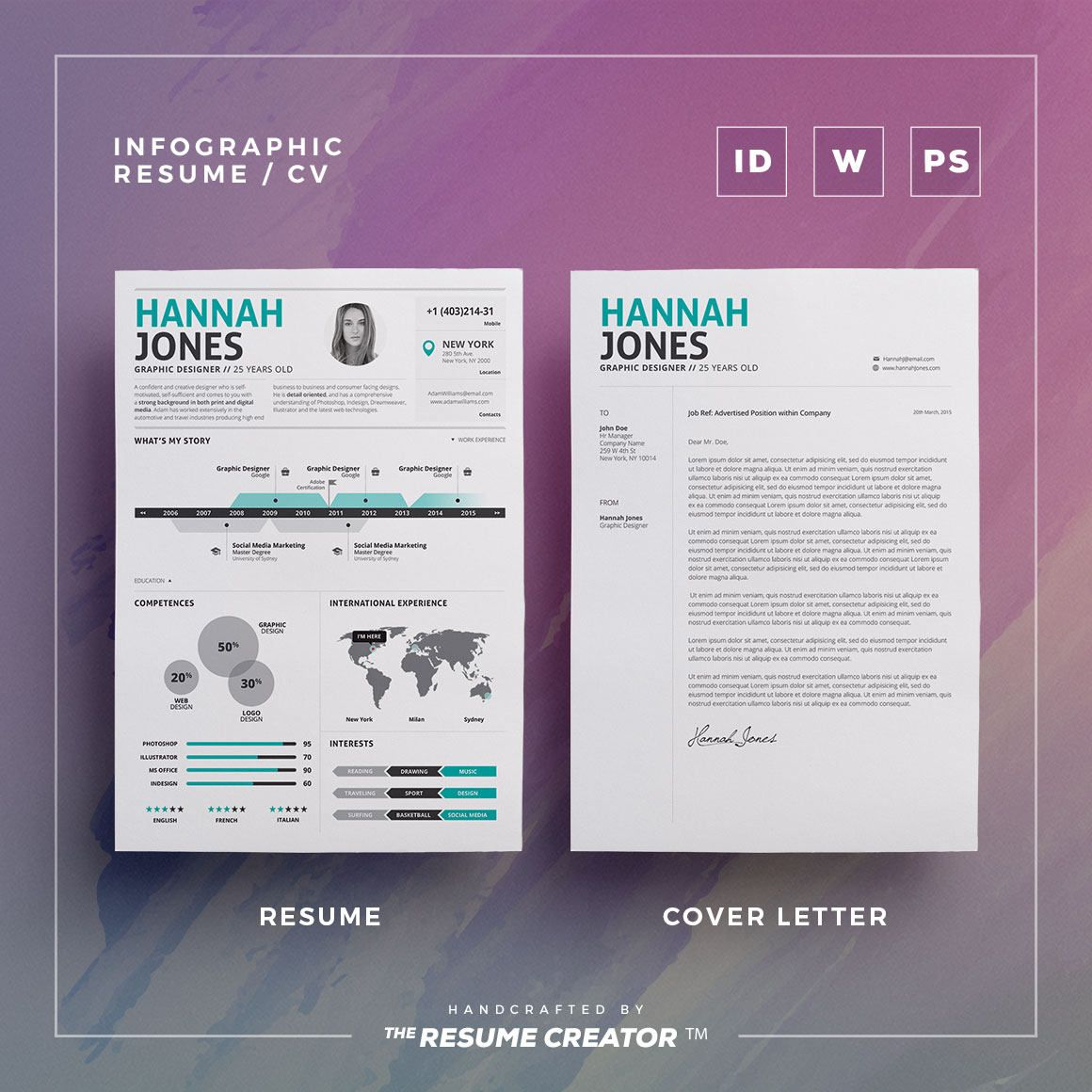 Infographic Resume Word Indesign and Photoshop Infographic