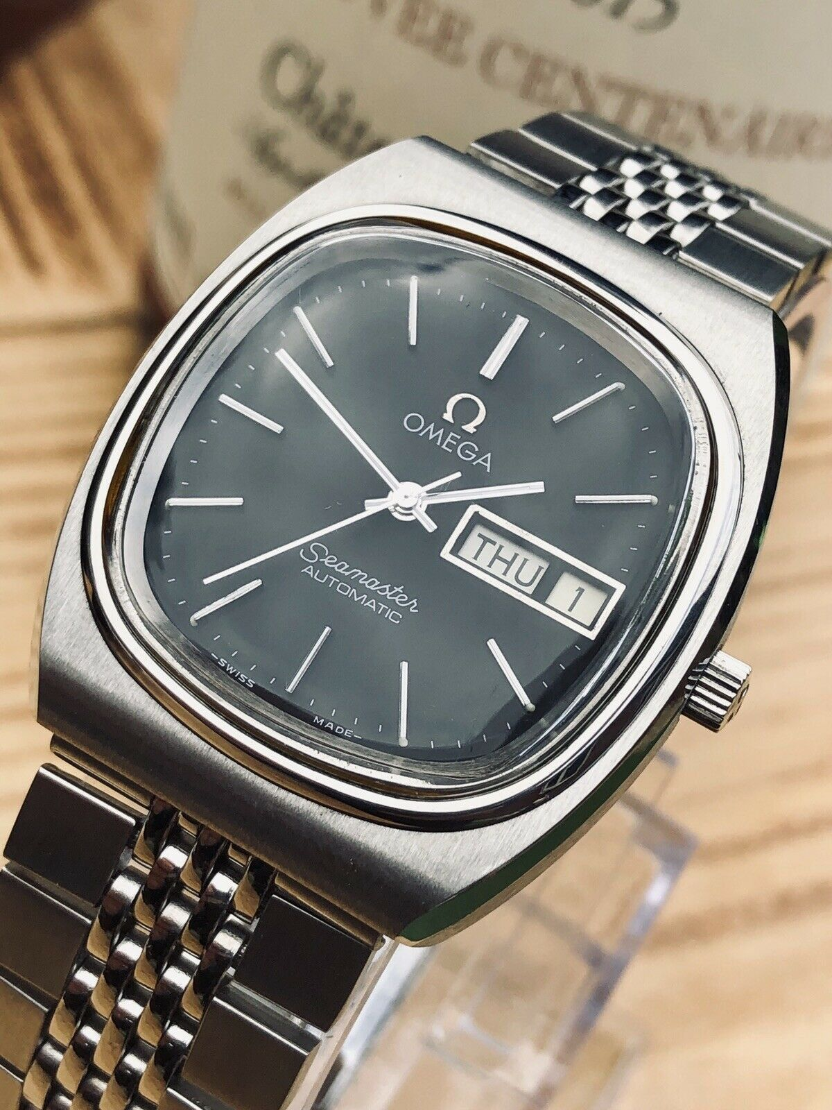 OMEGA Seamaster Day Date Calibre 1020 Steel Automatic Black Dial men Square  vintage TV dial watch | Omega seamaster, Omega, Vintage tv