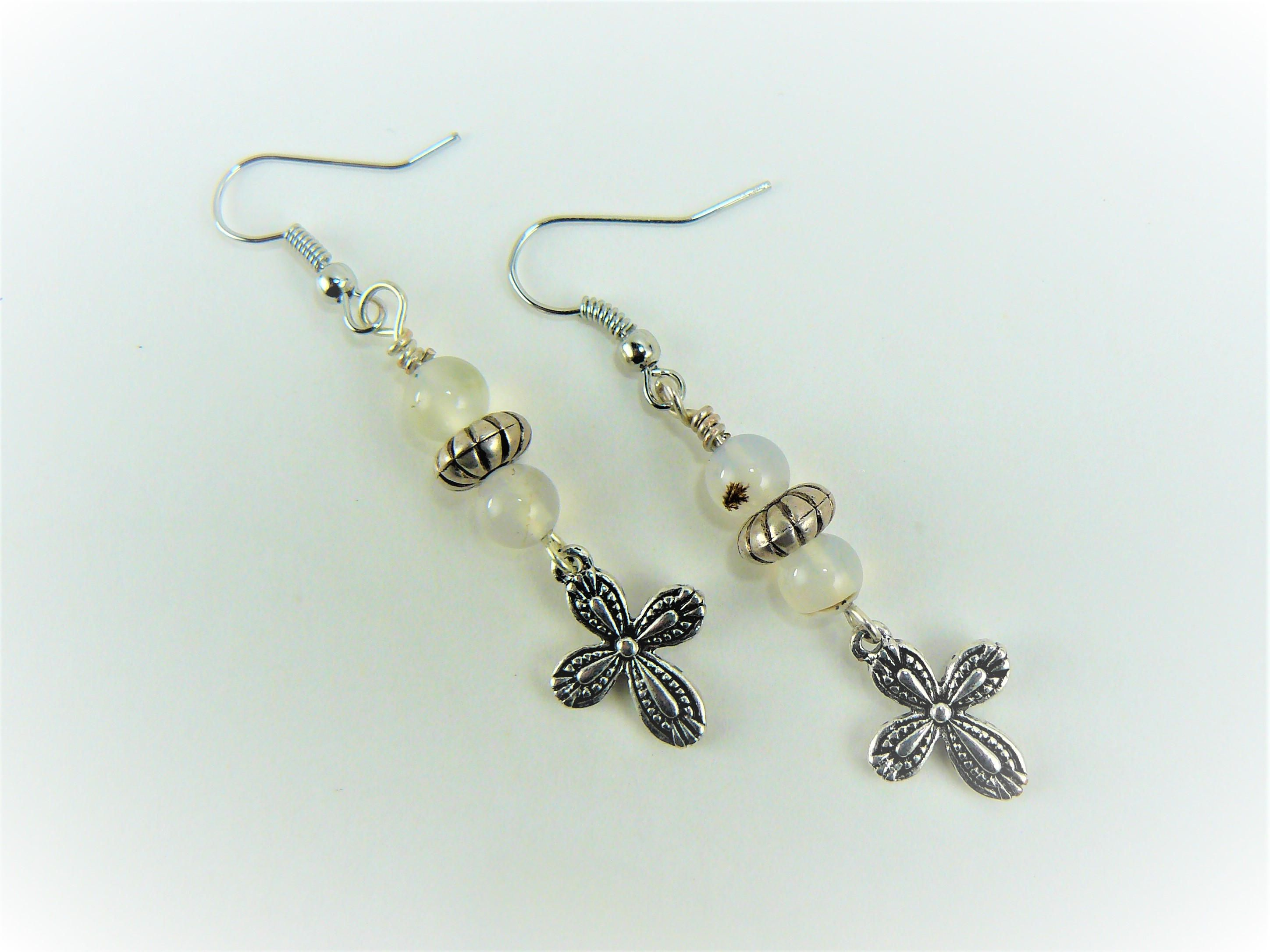 Grey Agate Earrings Cross Silver Beaded Dangle