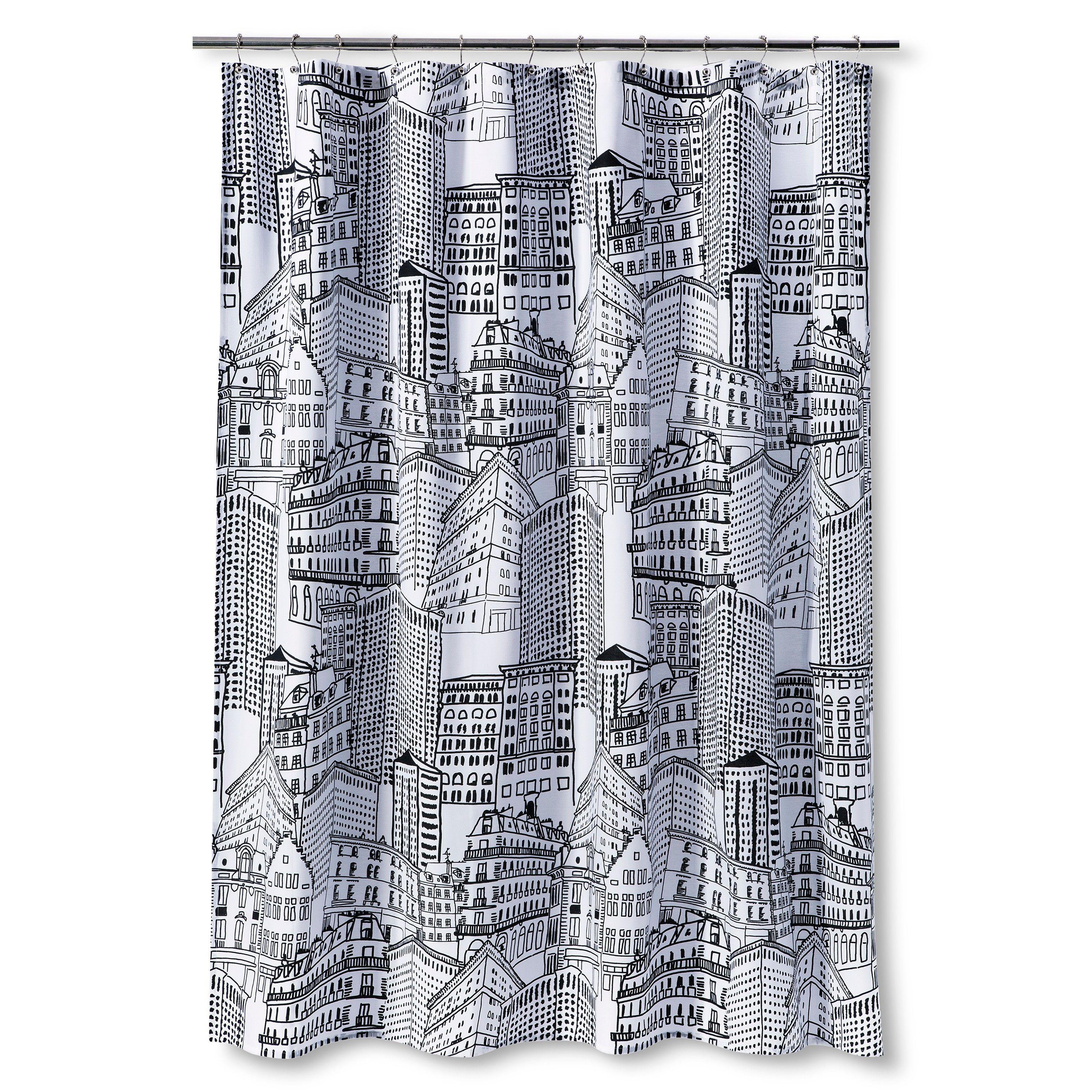 Room Essentials City Sketch Shower Curtain Ebony Opaque Black