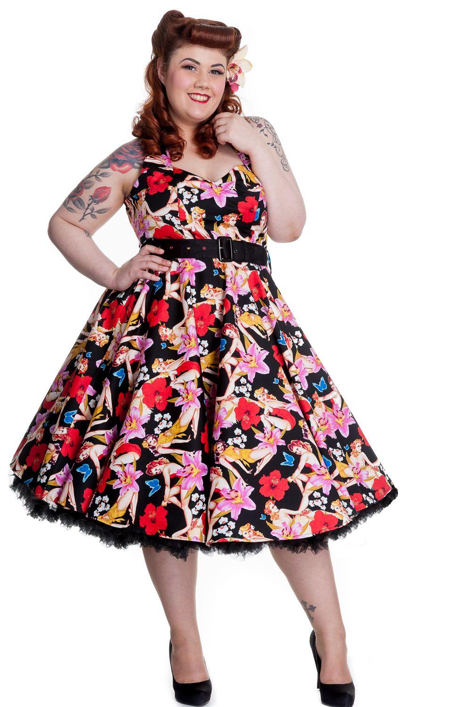 0bbb61c3986 Hawaii 50 s PinUp Tiki Dress by Hell Bunny