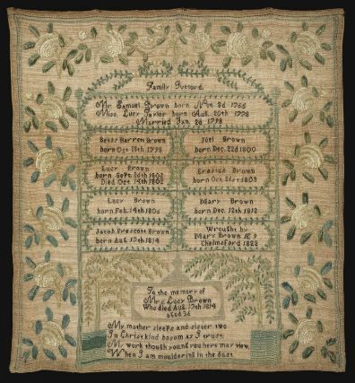 Genealogical sampler  American, 1822  Embroidered by Mary Brown, American, born in 1813 Chelmsford, Massachusetts  DIMENSIONS: Overall: 53 x 48.6 x 2.5 cm (20 7/8 x 19 1/8 x 1 in.)  MEDIUM OR TECHNIQUE: Linen plain weave embroidered with silk  CLASSIFICATION: Textiles  ACCESSION NUMBER: 2003.409  Museum of Fine Arts, Boston
