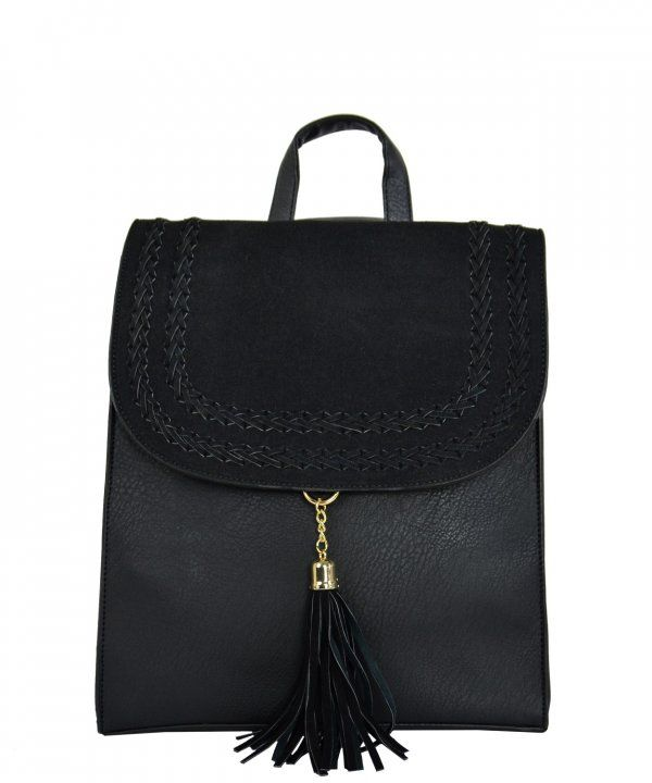 05cecf8322 Γυναικείο τετράγωνο σακίδιο πλάτης μαύρο δερματίνη DF1015   γυναικείεςτσάντες  σακίδια  μόδα  τσάντα