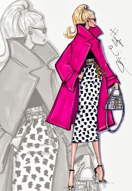#Hayden Williams Fashion Illustrations #'Spotted In Pink' by Hayden Williams