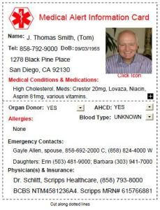 Do You Carry A Medical Alert Card The Caregiver Space Card Template Id Card Template Card Templates Free