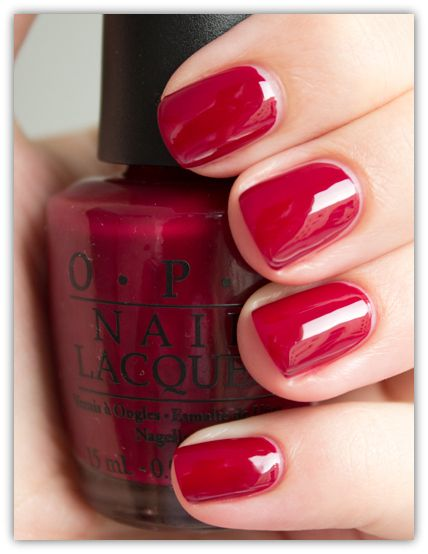 Opi Nail Lacquer Malaga Wine Perfect Not Too Dark Bright Red